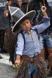 Primo piano di un ragazzo quechua indigeno nell'Ecuador Immagini Stock Libere da Diritti