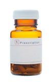 Bottiglia di vetro di prescrizione Fotografia Stock