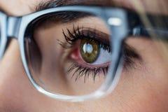 Primo piano di una donna con gli occhi verdi Immagini Stock