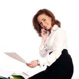 Primo piano di una donna di affari allegra Immagini Stock