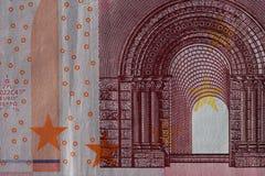 Primo piano di una fattura di biglietto usata dell'euro 10 Immagini Stock Libere da Diritti