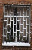 Primo piano di una finestra innevata con una grata su una casa vicina sui precedenti del mattone rosso e di forte bufera di neve immagine stock libera da diritti