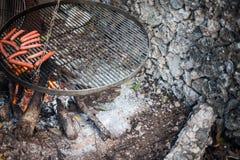 Primo piano di una griglia con le salsiccie Immagine Stock