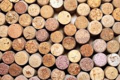 Primo piano di una parete dei sugheri usati del vino Fotografia Stock Libera da Diritti