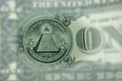 Primo piano di una parte del dollaro Il concetto del primo piano Noi valuta Immagine Stock
