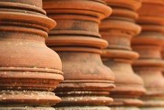 Primo piano di una sezione di un monumento cambogiano fotografie stock