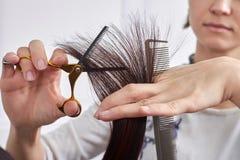 Primo piano di uno stilista di capelli che taglia i capelli di una donna immagini stock
