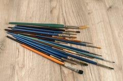 Primo piano differente dei pennelli Fotografia Stock Libera da Diritti