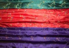 Primo piano differente dei tessuti di struttura e di colore Fotografia Stock