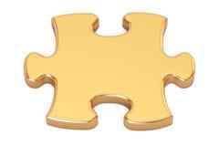 Primo piano dorato di puzzle, rappresentazione 3D Fotografia Stock Libera da Diritti