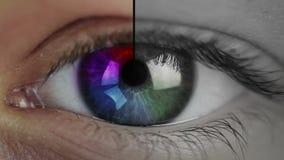 Primo piano e conto alla rovescia dell'occhio stock footage