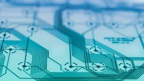 Primo piano elettronico del circuito della flessione Base tecnica astratta immagine stock libera da diritti