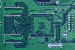 Primo piano elettronico di colore verde del circuito Immagine Stock Libera da Diritti