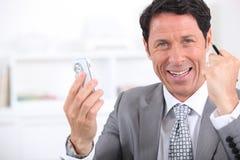 Primo piano felice dell'uomo d'affari Immagine Stock Libera da Diritti