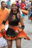 Primo piano femminile del ballerino nell'Ecuador Fotografia Stock