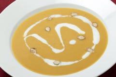Primo piano francese della minestra della zucca Fotografia Stock