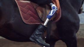 Primo piano, gamba artificiale, arto in staffe il cavaliere maschio, disabile, senza gamba, impara montare il cavallo, hippothera stock footage