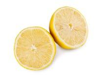 Primo piano giallo fresco del centro del limone isolato su fondo bianco Fotografia Stock Libera da Diritti