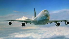 Primo piano grande di volo del jet nel cielo video d archivio