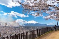 Primo piano il monte Fuji innevato Mt Fuji con il chiaro fondo blu scuro del cielo in fiori di ciliegia di sakura immagine stock libera da diritti