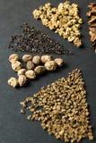 Primo piano, insieme dei semi su un fondo nero, verticale fotografia stock libera da diritti