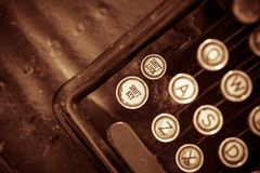Primo piano invecchiato della macchina da scrivere Immagine Stock
