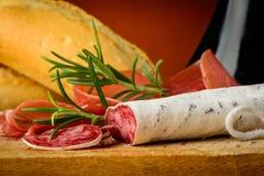 Primo piano italiano del salame Fotografia Stock