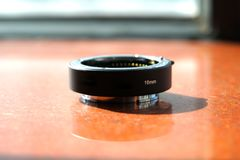 Primo piano la lente nera del riempitivo 16 millimetri Fotografia Stock Libera da Diritti