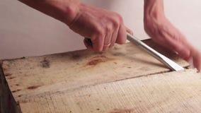 Primo piano Le mani maschii con un ampio cacciavite o l'altro strumento del montaggio aprono una scatola di legno Rottura della p archivi video