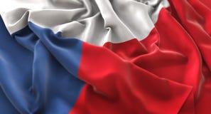 Primo piano macro meravigliosamente d'ondeggiamento increspato bandiera della repubblica Ceca SH immagini stock