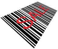 Primo piano a macroistruzione del codice a barre di vendita isolato Fotografia Stock Libera da Diritti