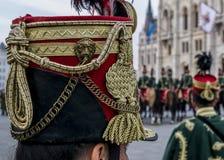 Primo piano militare tradizionale del cappello di ussaro Fotografia Stock