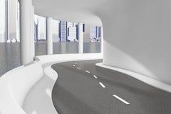 Primo piano moderno della strada della strada principale del ponte del mare rappresentazione 3d Immagini Stock Libere da Diritti
