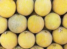 Primo piano molti meloni Azienda agricola di agricoltura del mercato del vassoio di estate in pieno dei frutti organici Cibo sano Fotografie Stock
