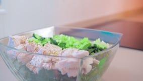 Primo piano, movimento lento, insalata in un'insalatiera di vetro del pollo e piante verdi conditi con le spezie Il concetto di stock footage