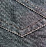 Primo piano nero del tessuto di struttura dei jeans Fotografia Stock Libera da Diritti