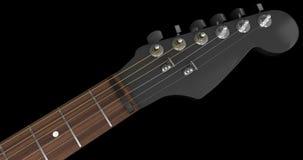 Primo piano nero della testa motrice della chitarra elettrica Fotografia Stock Libera da Diritti