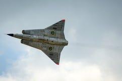 Primo piano per Saab 35 Draken in volo Fotografia Stock