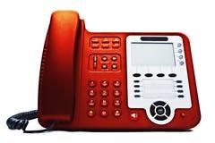 Primo piano rosso del telefono del IP Immagini Stock