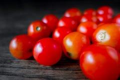 Primo piano rosso di Cherry Tomatoes su legno scuro Immagine Stock
