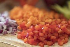 Primo piano rosso tagliato dei peperoni dolci Fotografie Stock Libere da Diritti