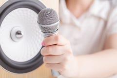 Primo piano sano degli altoparlanti Audio sistema stereo Fotografia Stock Libera da Diritti