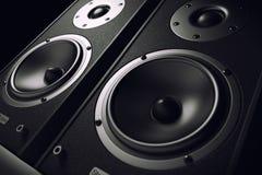Primo piano sano degli altoparlanti Audio sistema stereo Immagine Stock