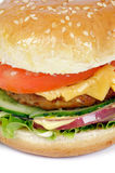 Primo piano saporito dell'hamburger Immagine Stock Libera da Diritti