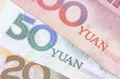Primo piano sparato delle banconote cinesi Fotografie Stock Libere da Diritti