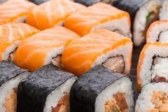 Primo piano stabilito dei sushi Fotografie Stock