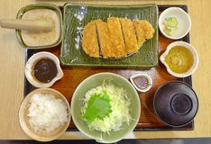 primo piano stile giapponese del pasto di braciola di maiale Fotografie Stock