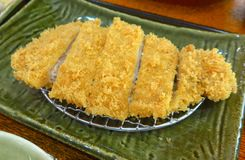 primo piano stile giapponese del pasto di braciola di maiale Fotografia Stock Libera da Diritti