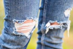 Primo piano stracciato dei jeans Immagine Stock