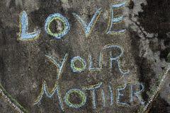 Primo piano su amore di frase vostra madre Immagine Stock Libera da Diritti